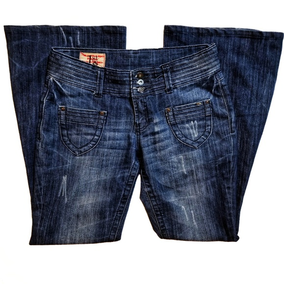 1st Kiss Denim - NWOT 1st KISS Super Flare Distressed Jeans